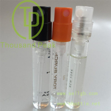 2ml and 3ml SMALL glass perfume tester bottle vial with crimp sprayer pump